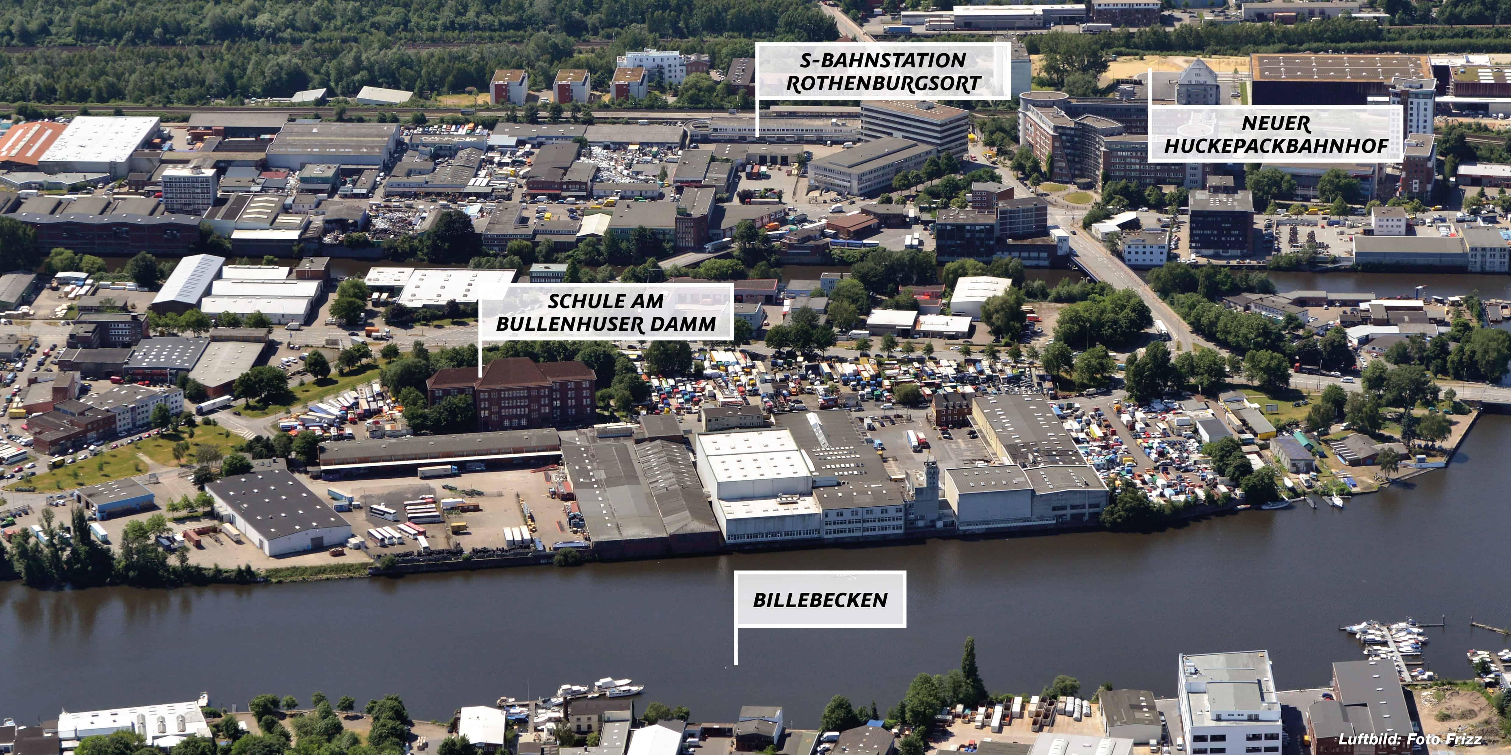 Billebecken in Hamburg, Luftaufnahme